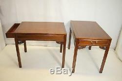 Paire De Tables D'appoint De Bout Américain Avec Un Tiroir, Chippendale V. 1930