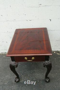 Paire De Tables D'appoint Latérales Chippendale Flame Mahogany Par Thomasville 9791