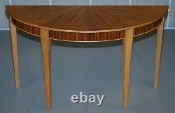 Paire De Tables De Console Bevan Funnell Phoenix Zebrano Wood Demi Lune Flambant Neuves