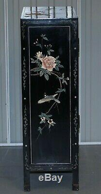 Paire De Vintage Ebonised Chinois Chinoiserie Side Table Sized Armoire Bibliothèques