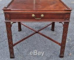 Paire Grand Vintage Baker 20 C Chinese Chippendale Tables Anglais Style Asiatique