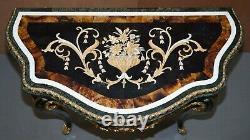 Paire Importante De Pietra Dura Marble Demi Lune Console Tables Bronze Gilding