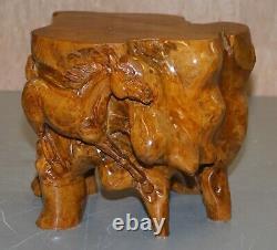 Paire Originale, Bois De Racine Sculpté Equestrian Galloping Horse Side End Lamp Tables