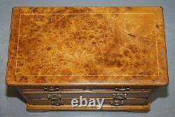 Paire Stupéfiante De Burr & Burl Walnut & Elm Bedside, Table De Chevet De Tiroirs