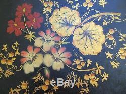 Plateau Tole Vintage Peinté À La Main Folk Art En Bambou Doré Doré Chippendale En Métal