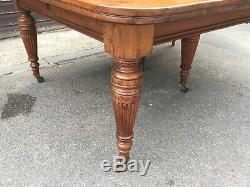 Rare! 14.9ft Antique Grand Victorian Table À Manger En Noyer. 1831-1901