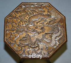 Rare 1905 Londres Japonais De La Liberté Dragon Sculpté Fin Côté Lampe De Table Vin