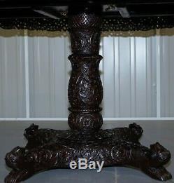 Rare Anglo Indien Cenutry 19ème Table De Padouk Sculpté À La Main Bois De Palissandre Lions & Fleurs
