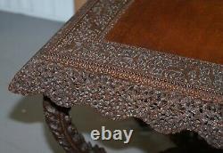 Rare Birman Circa 1880 Anglo Indian Rosewood Square Centre Table Occasionnelle