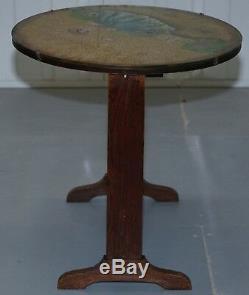 Rare Chêne Pédonculé Tilt Dessus De Table Avec Étui En Verre Image Peinte Belle Main
