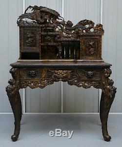 Rare Chinese Export Dragons Phoenix Oiseaux D'écriture Table Bureau Et Chaise Assortie