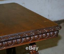 Rare Circa 1880 Français Bretagne Sculpté À La Main En Bois De Châtaignier Extension Table À Manger