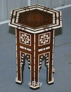 Rare Circa 1900 Syrien Os Marqueté Hexagone Desserte Idéal Pour L'affichage Lampes