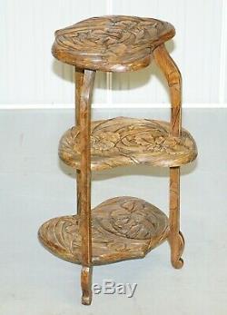 Rare Entièrement Estampé Y Hayashi 1905 De La Liberté De Londres Japonaise Sculpté Table Side