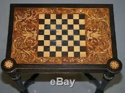 Rare Esthétique Mouvement Ronce De Noyer Marqueterie Marqueterie D'échecs De Table Rabattable Carte