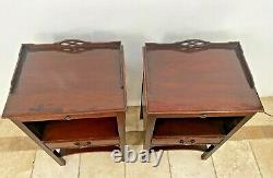Rare Kindel Matching Bedside Chests Night Stands Ahogany Tables Latérales 2 Tiroirs