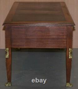 Rare Napoléon III Empire Français Beuro De Plat En Bronze Doré D'écriture Table Bureau