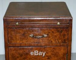 Rare Table D'appoint Art Déco Burr En Noyer Des Années 1920 Avec Plateaux De Service Et Tiroir