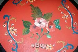 Rare Table Gypsy Ancienne Peinte À La Main De Hollande Jolies Jambes Tournées Fleurs