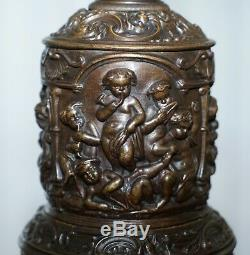 Rare Vers 1860 Bronzé Chérubin Putti Ange Huile Lampe Convertie En Lampe De Table