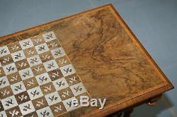 Rare Victorienne 1860 Noyer Avec Des Jeux D'argent Échiquier Table Et Simple Tiroir
