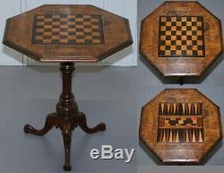 Rare Victorienne 1880 Noyer Marqueterie Échecs Backgammon Cribbage Jeux De Société Table