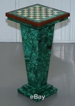 Rare Vintage Malachite Socle Jeu D'échecs Après Alfredo Ravasco Rangement Intérieur