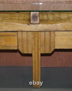 Restauré Circa Années 1920 Hennes France Butchers Table Bronzed Mounts Glass Top