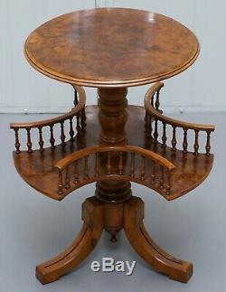 Restauré Ronce De Noyer Victorien Renouvelable Lampe Côté Bibliothèque Table Galerie Ferroviaire
