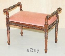 Richement En Acajou Sculpté Vintage Style Régence Piano Tabouret Coiffeuse Banc