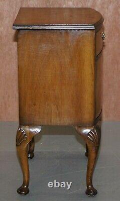 Ronce De Noyer Queen Anne Table De Chevet Cabinet Pieds Élégants Cabriolet Sculpté