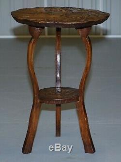 Round Rare Circa 1905 De La Liberté De Londres Japonaise Sculpté Lampe Fin Côté Vin De Table