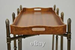 Sarreid Métal Faux Bamboo Chinese Chippendale Style Élevé Plateau De Table D'appoint Pliante
