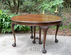 Set En Acajou Massif 6 Chaises Ball Claw Sculptées Antique Rond Table À Banquet