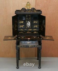 Sublime 19ème Chinois Lacqurered Dressing Table Vanity Unit Writing Table Or Desk