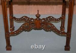 Sublime Circa 1920's Thomas Chippedale Fret Work Carved Silver Tea Coffee Table