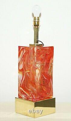 Sublime Paire De Verre De Murano Original Marbré Solide Lourds Lampes De Table