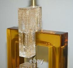 Sublime Paire De Verre De Murano Original Modernist Solid Heavy Large Lampes De Table