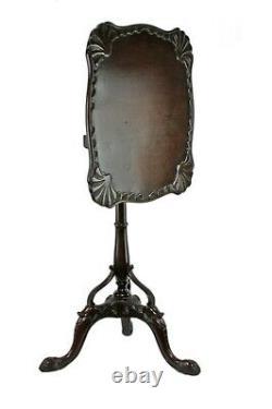 Superbe Ancienne Acajou Carré Acajou Tilt Top Chippendale Style Sea Shell Table