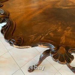 Superbe Antique Tilt Top Festonnée Pie-croûte Thé Table En Acajou Sculpté À La Main