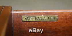 Superbe Burr Elm Ethan Allen Morley Table Basse En Cuir Brun Top Tiroirs