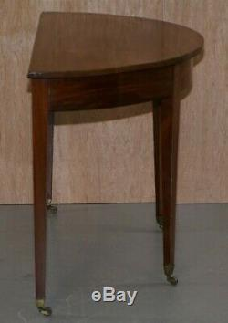 Superbe Circa 1880 Noyer Victorienne Demi Lune Halfmoon Console Table Sur Roulettes