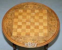 Superbe Circa 1890 Noyer Marqueterie Incrusté Jeux D'échecs Table Biedermeier Base