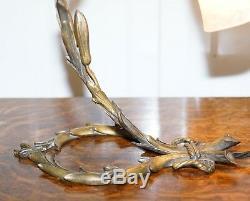Superbe Lampe De Table Charles Schneider En Bronze Massif, Circa 1920, Abat-jour D'origine