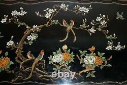 Superbe Noir Laqué Polychrome Peint Table Desk Oiseaux Fleurs