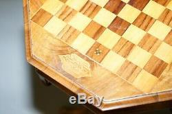 Superbe Noyer Victorienne Couture Ou Travail Boîte Jeux D'échecs Table Grande Lampe De Vin