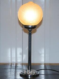 Superbe Originale 1930 Art Déco En Verre Chromé Lampe De Table Très Élégant