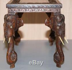 Superbe Petit Circa 1900 Anglo Éléphant Indien Sculpté À La Main En Bois De Rose Table D'appoint