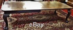 Superbe Qualite Chippendale Antique 19ème Table A Manger Avec 3 Feuilles Acajou