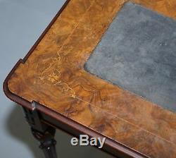Superbe Rare Époque Victorienne Burr Jeux Noyer Table Top Lift Sculpté Chantourner Travail